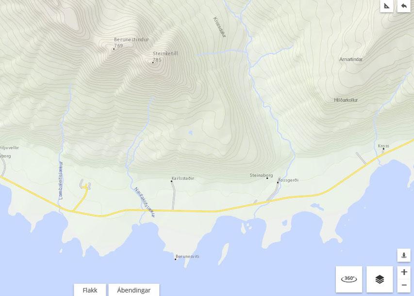 detailed map - East Fjords Iceland