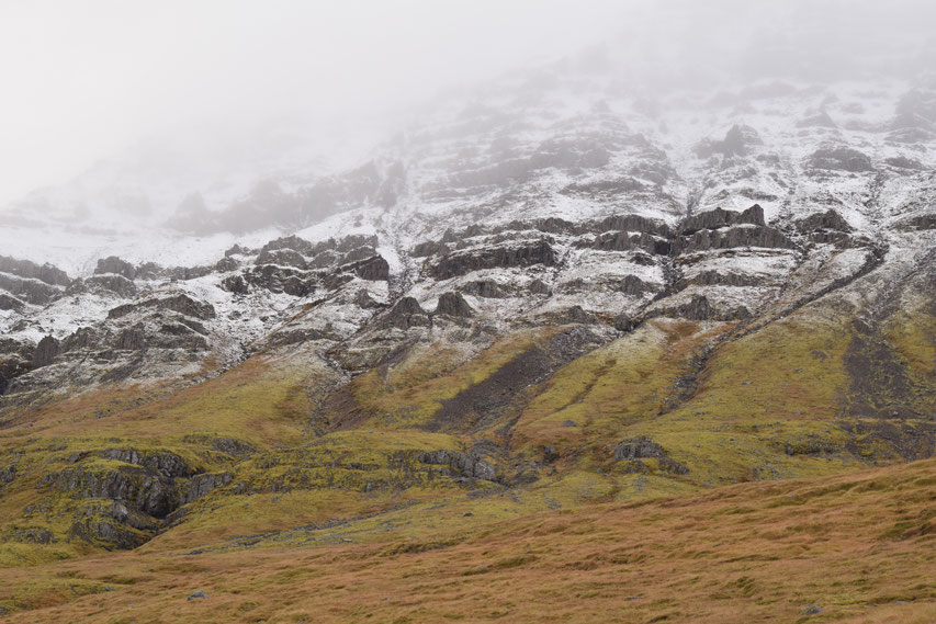 mountain with snow, East Fjords, Iceland