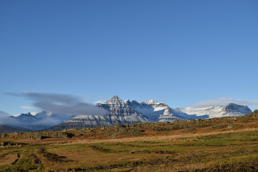 Blue sky and snow on mountain, East Fjords, Iceland