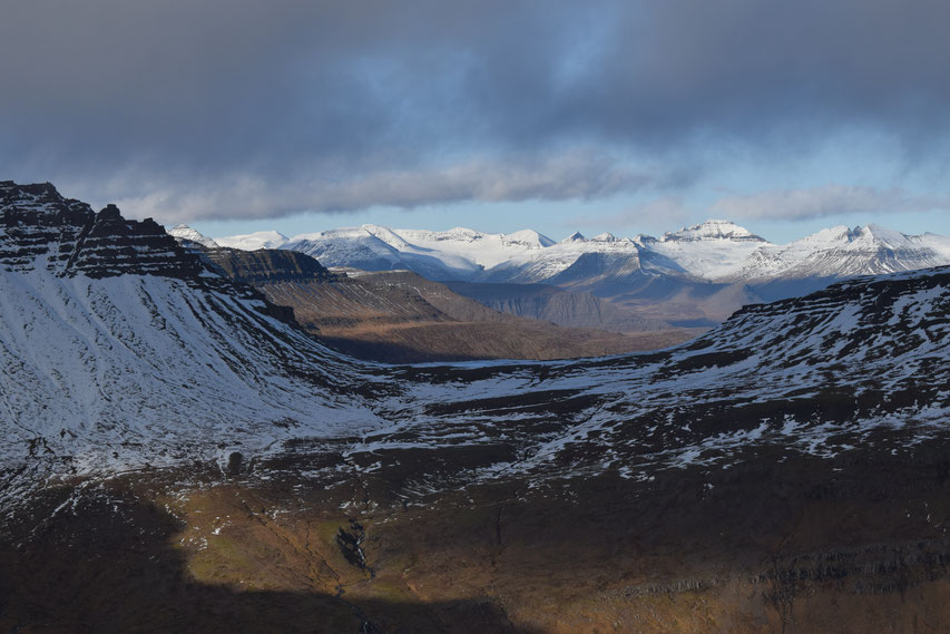 hiking in the East Fjords - snowy mountains