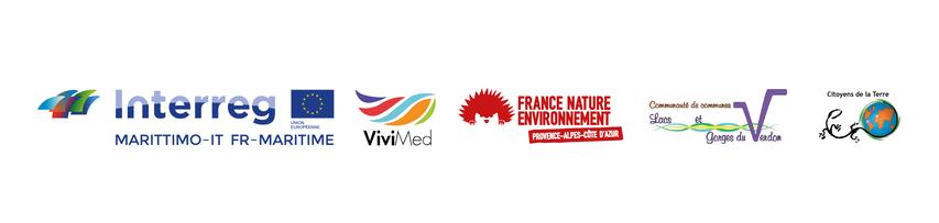Logos Interreg Marittimo, Vivimed, FNE PACA, Communauté de communes Lacs et Gorges du Verdon, Citoyens de la Terre