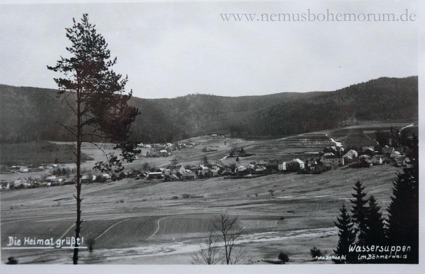 Wassersuppen, links das kleine Friedrichshütten, im Hintergrund Althütten.