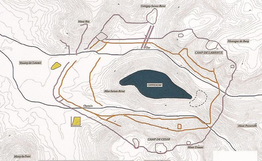 Carte réalisée par Pascale Guillou et Claude Grapin, dans Archéologia Hors-série n° 14 Museoparc Alésia, avril 2012, p. 16