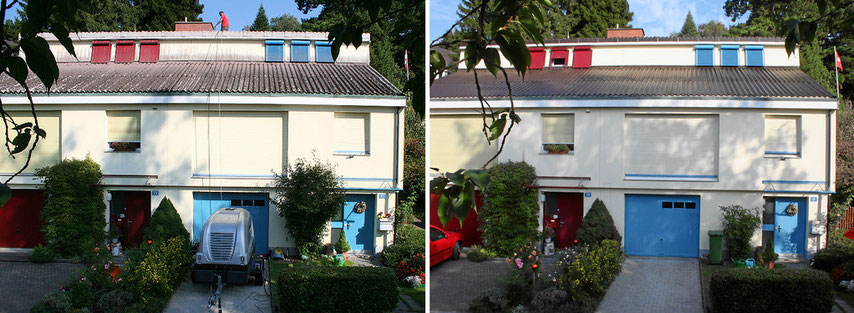 Dachbeschichtung in Riehen / Basel im August 2011. Vorher - Nachher