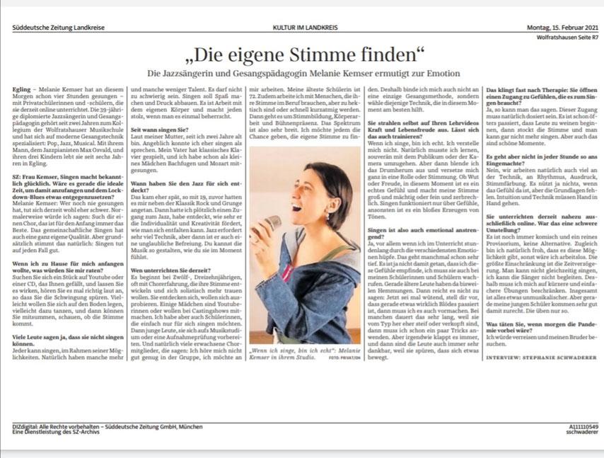 15.Februar 2021, Artikel Süddeutsche Zeitung