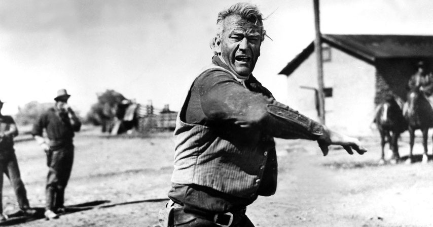 John Wayne, en la imagen, muy enfadado por los recortes que se están realizando para que Europa salga de la crisis con todo el pelo que le queda encima de la cabeza.- cartoonja.com