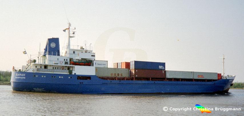 Container-Feederschiff SARAH, Sietas-Typ 67, 1989