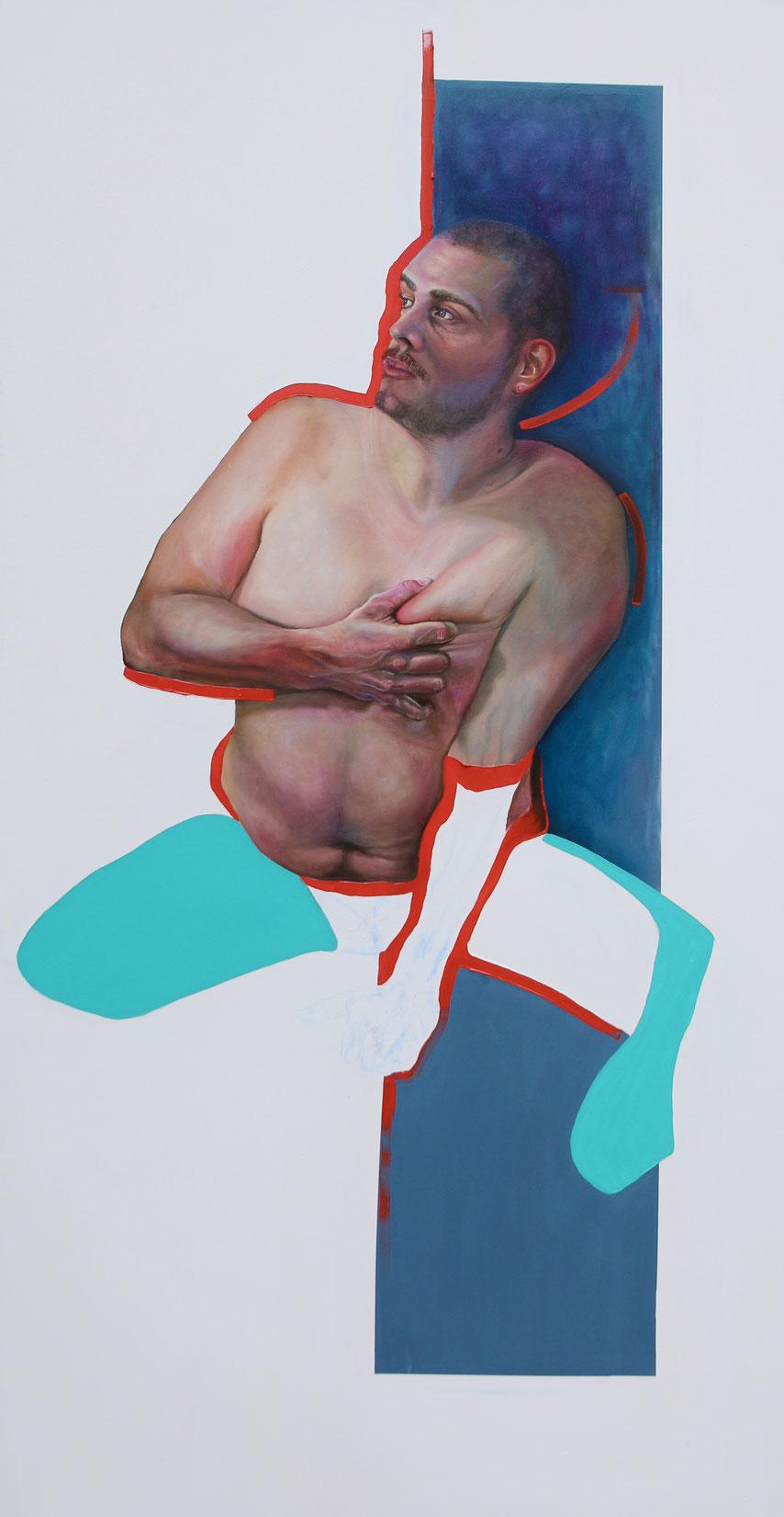 Trans/Masc, (Serie 3), #13, 2021, Öl auf Leinwand, 200 x 101 cm