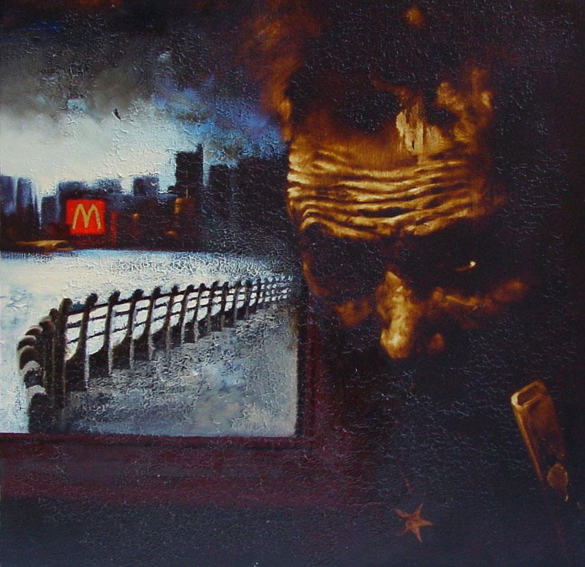 """""""Apparizione di un no-global in un interno"""" ( 2009) olio su tavola, cm (40 x 40)"""