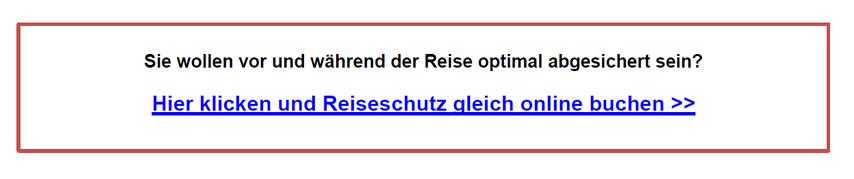 Screenshot mit Buchungslink der Reiseversicherung auf dem PDF-Flyer des Gastgebers mit seinem Logo