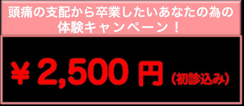 頭痛薬を飲み続けているあなたの為の体験キャンペーン!通常¥8000のところ5月1日まで¥2500※あなたの頭痛に効くか?1回受けてみてください