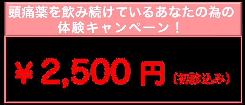 頭痛薬を飲み続けているあなたの為の体験キャンペーン!通常¥8000のところ8月28日まで¥2500※あなたの頭痛に効くか?1回受けてみてください