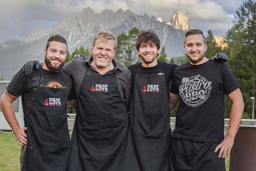 Das MEAT LOVE Grillteam: Thomas Innerhofer, Hannes Plankensteiner, Thomas Mair, Martin Messner