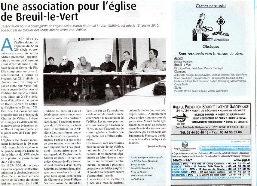 Avril 2010 - Journal Le Messager - Une association pour la sauvegarde de l'église Saint Martin de Breuil le Vert (SMBLV).