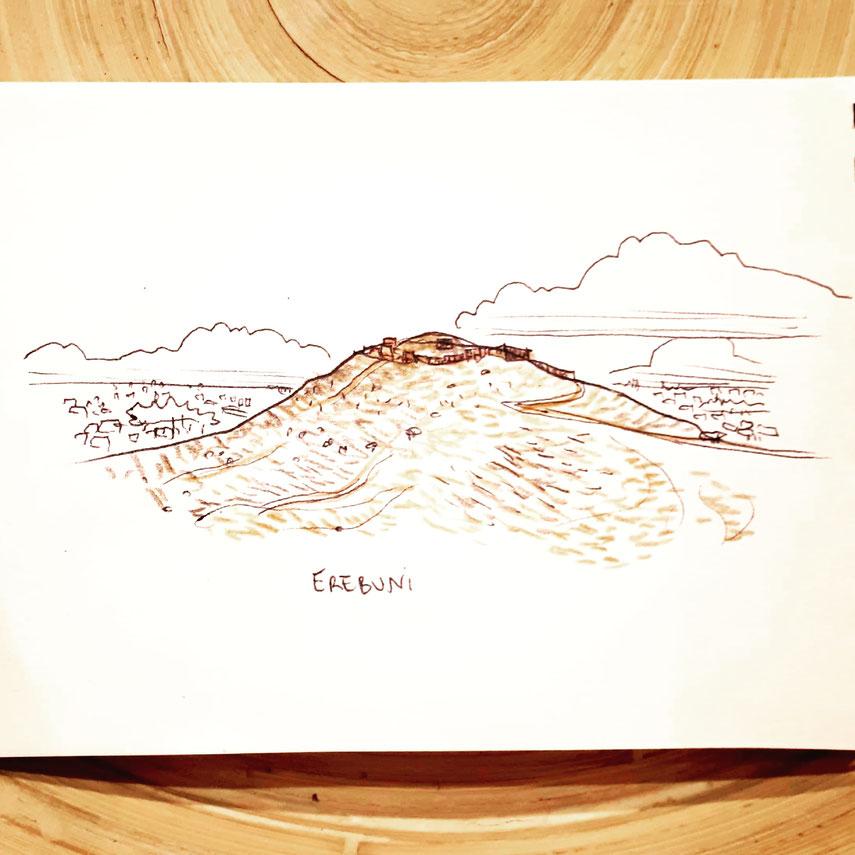 Mot du jour #forteresse. Cette illustration évoque Erebuni, citadelle Urartu de l'ère antique pré-arménienne.