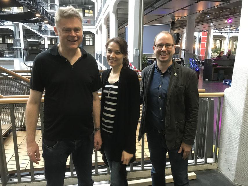 Green Shooting-Experte Philip Gassmann und die beiden neuen und ersten Karlsruher Green Consultants Nadine Knobloch und Dr. Oliver Langewitz.