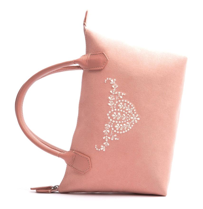 Wiesntasche Trachtentasche INÈS rose  mit Stickerei OSTWALD Traditional Craft