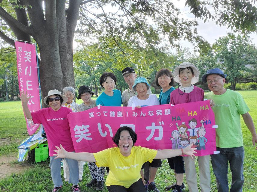 2019年8月松阪市鈴の森公園笑いヨガ(ラフターヨガ)