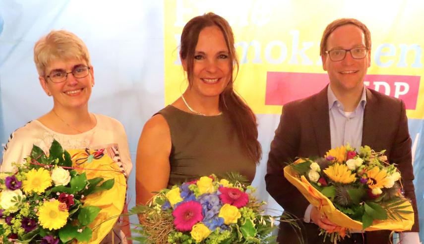 Die Quickbornerin Annabell Krämer (Mitte) wird ebenso wie Monika Hagen und Pascal Mangels im Kreis Pinneberg als FDP-DirektkandidatIn  zur Landtagswahl antreten