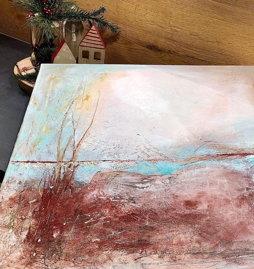 Rote Erde, französischer Ocker, Zimtschwarz, Kreide von Bologna und Goldpigmente