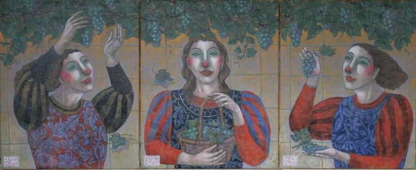 吉屋敬  三連画「葡萄の下で 2008年」