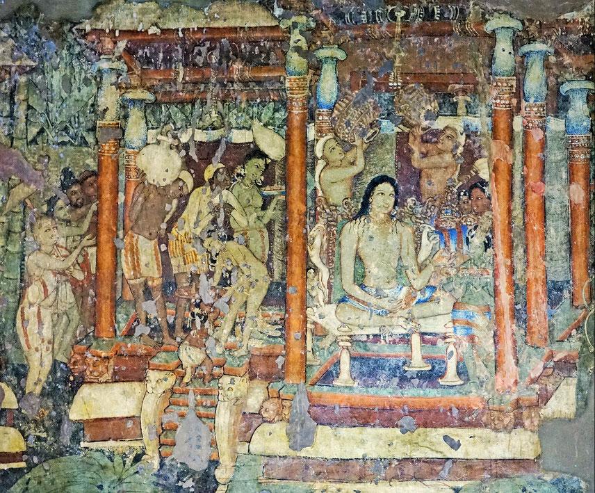 Storia del re Mahajanaka dai Jataka - Grotte di Ajanta (India)
