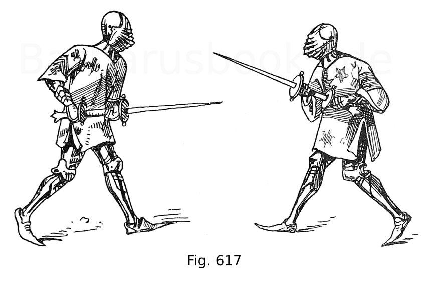 """Fig. 617. Ritter im Fußkampf mit Ahlspießen. Aus dem Bildcodex """"Ceremonies des gages de bataille"""" der Nationalbibliothek zu Paris vom Anfang des 15. Jahrhunderts. Nach Lacroix, Vie militaire etc."""