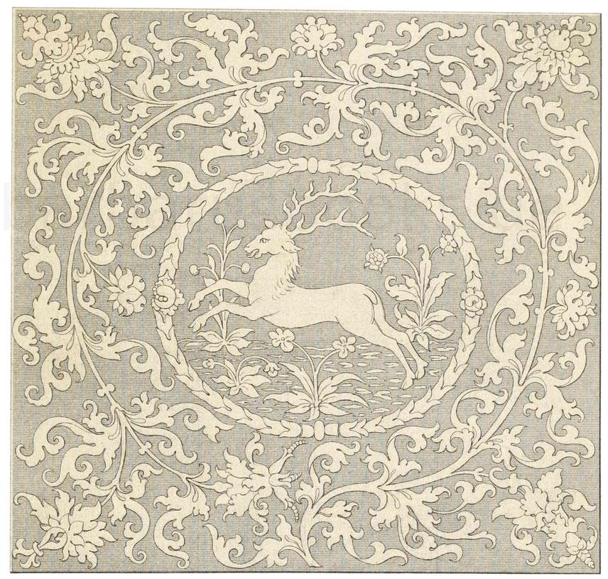 gestickte Tischdecke aus der ersten Hälfte des 16. Jahrhunderts