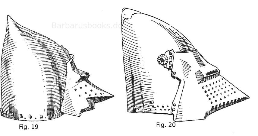 Beckenhaube mit Kloben für die Helmbrünne und schnauzenförmig vorgetriebenem Klappvisier. Fig. 20. Hundsgugel mit Absteckvisier aus der Wende des 14. Jahrhunderts. Schweizerisch.