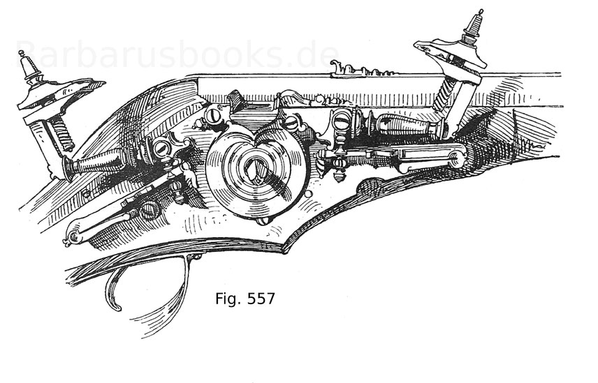 Fig. 557. Radschloss mit zwei Hähnen und einer Pfanne. Brescianer Arbeit. 17. Jahrhundert.
