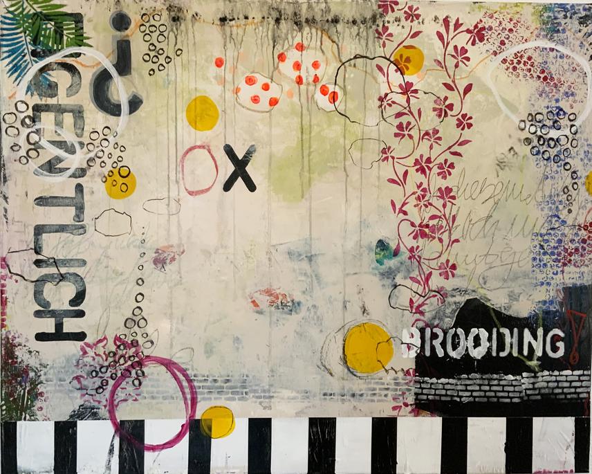 Artigkeit, Claudia Karrasch, Bonn, Malen, Abstrakte Malerei, Studio, Brooding, Acryl, Ölkreide, auf Leinwand, 130 X 80 cm