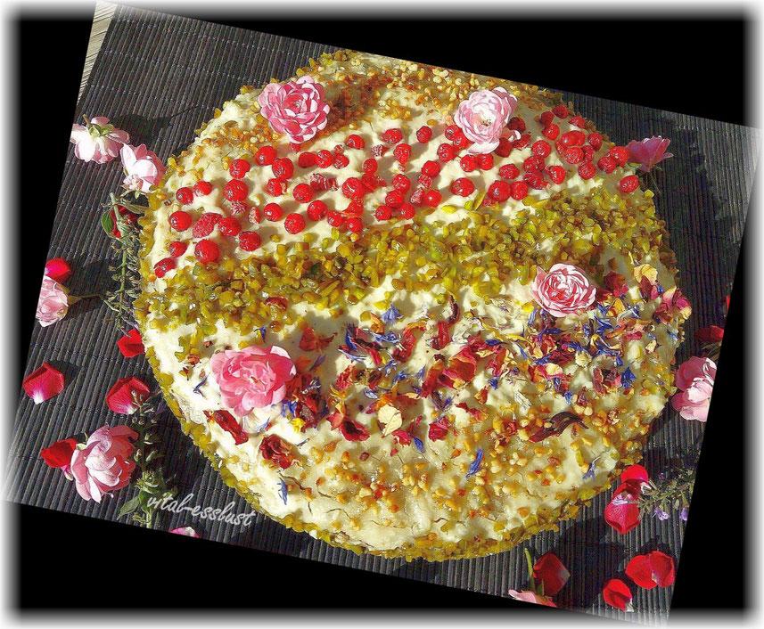 Orientalisch Rosen Pistazien Torte