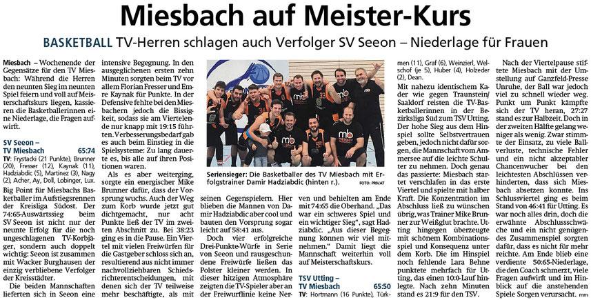 Bericht im Miesbacher Merkur am 28.1.2020 - Zum Vergrößern klicken