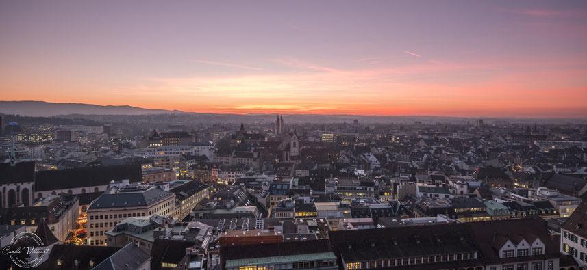 Martinsturm, Basler Münster, nächtliche Turmbesteigung, Sonnenuntergang, Abendrot über Basel