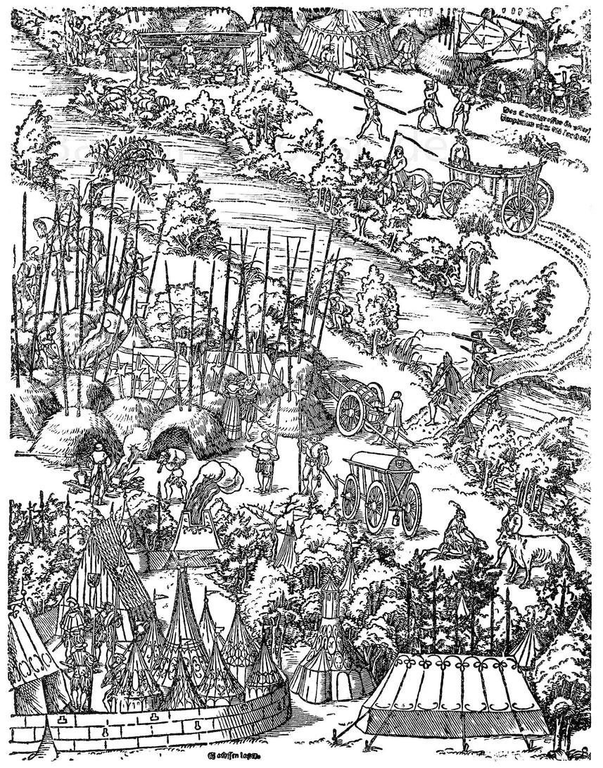 Landsknechtslager 1542. Aus dem Holzschnitt von Lucas Cranach. Belagerung von Wolfenbüttel. München, Kupferstichkabinett.