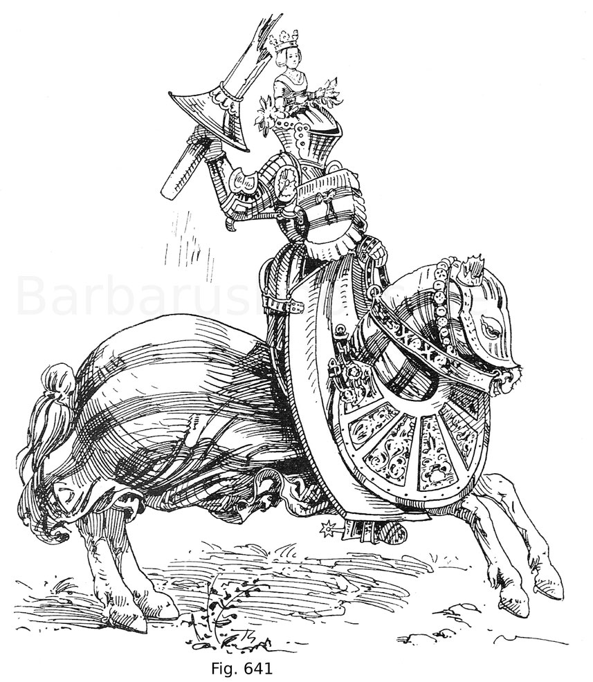 Fig. 641. Kaiser Maximilian I. im deutschen Gestech im hohen Zeug mit Graf Johann von Werdenberg. Miniatur aus dem Freidal. Nach Leitner, Freidal, Tafel 98.