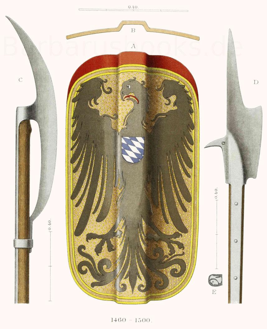 zwei Hellebarden und ein Setzschild (Helmbarte als Fachwort) aus Bayern.