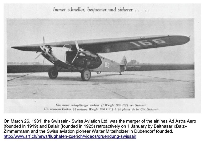 Die Swissair wird im Jahre 1931 gegründet, neues 10-plätziges Fokker-Flugzeug   Quelle: The 7 Most Endangered 2020, Europanostra