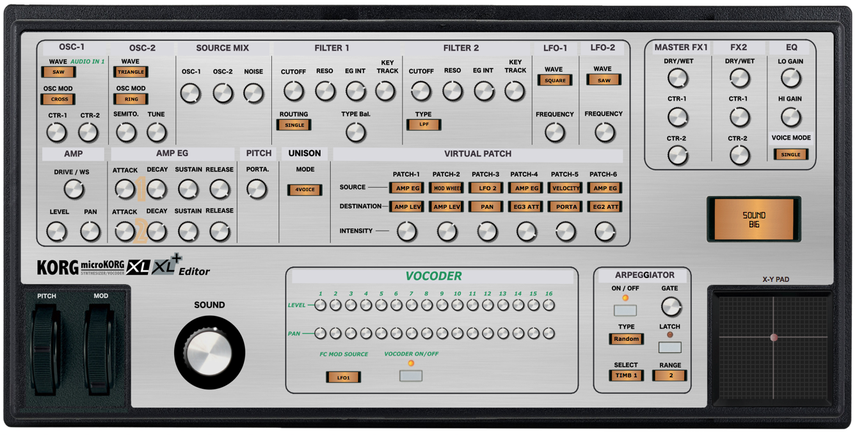 """Korg MicroKorg XL and XL+ """"MIDI EDITOR / REMOTE""""/ CONTROLLER, VST and Standalone"""