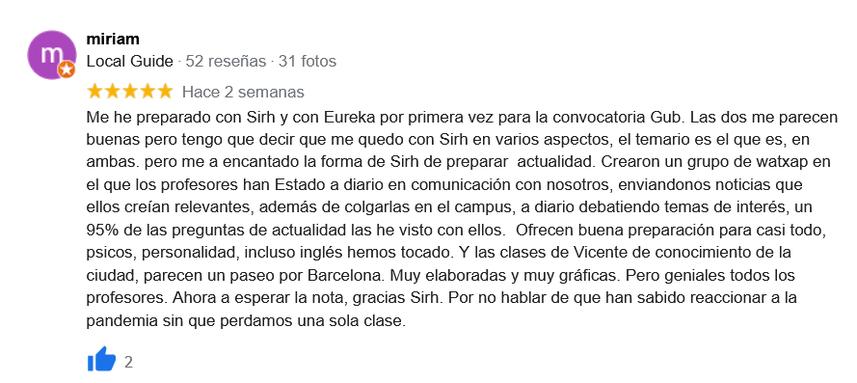 Testimonio curso oposiciones Guardia Urbana de Barcelona - Academia en Barcelona Sirh
