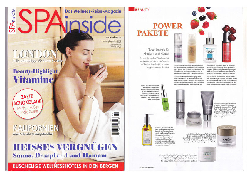 SPA INSIDE NOVEMBER-DEZEMBER 2015  I  Pure Vitamins Luxury Body Oil INDULGENCE COLLECTION