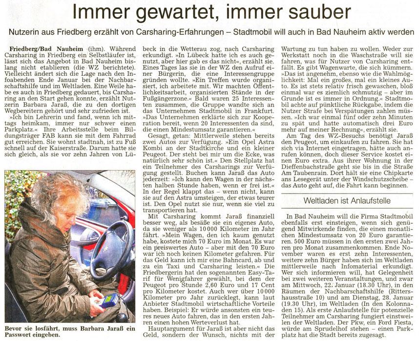 Carsharing in Bad Nauheim: Immer gewartet, immer sauber, Text und Fotos: Petra Ihm-Fahle, Wetterauer Zeitung, 04.01.2014