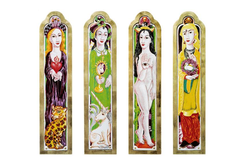 Emaille-Bilder - Vier Königinnen
