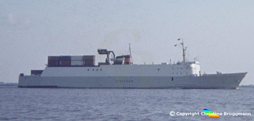 DFDS Ro-Ro Schiff STAFFORD, Elbe 1983