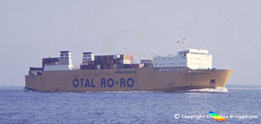 Ro-Ro Schiff BORE QUEEN auf der Elbe 1983