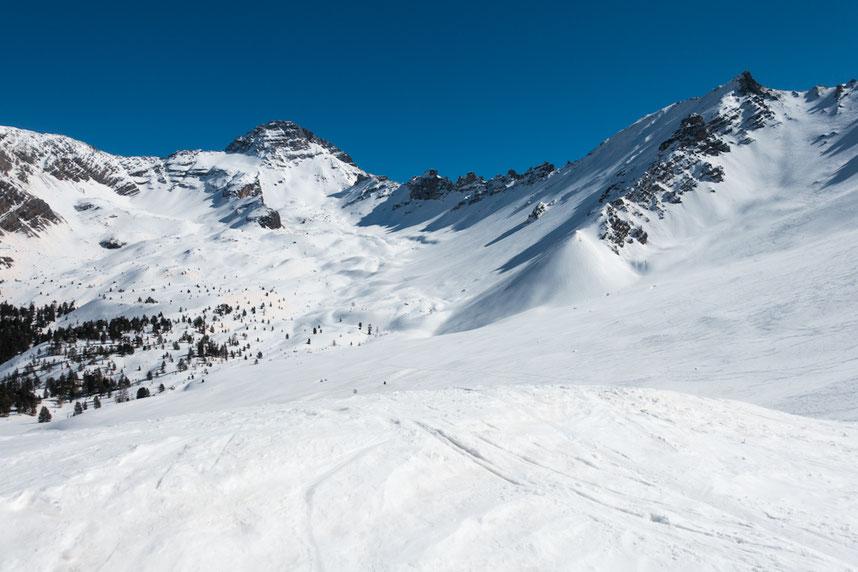 Randonnée ski à Briançon, vue sur le Pic de Rochebrune 3321m