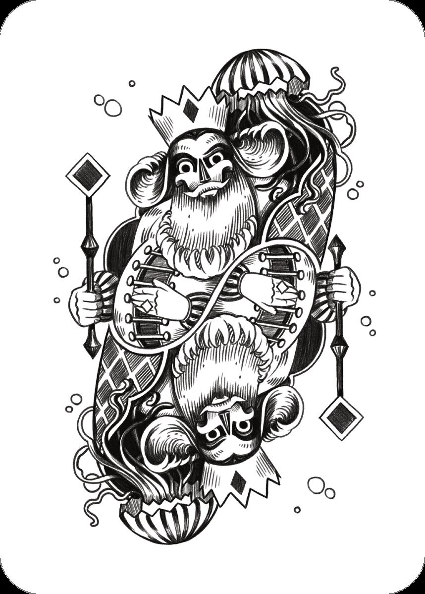 illustration - maritimer könig mit qualle und zepter