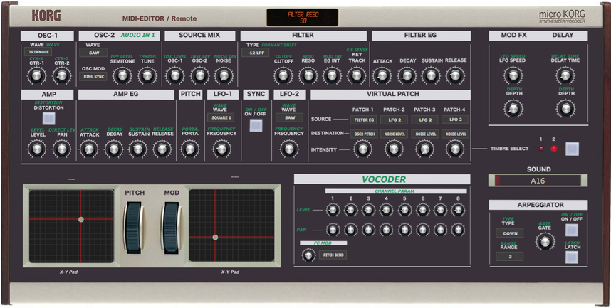 "Korg MicroKorg ""MIDI EDITOR / REMOTE""/ CONTROLLER, VST and Standalone"