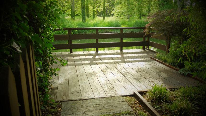 terrasse étang paysagiste jardin parc aménagement espace vert les green