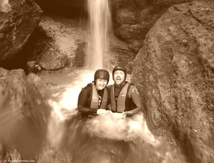Unter dem Wasserfall an der Steyr